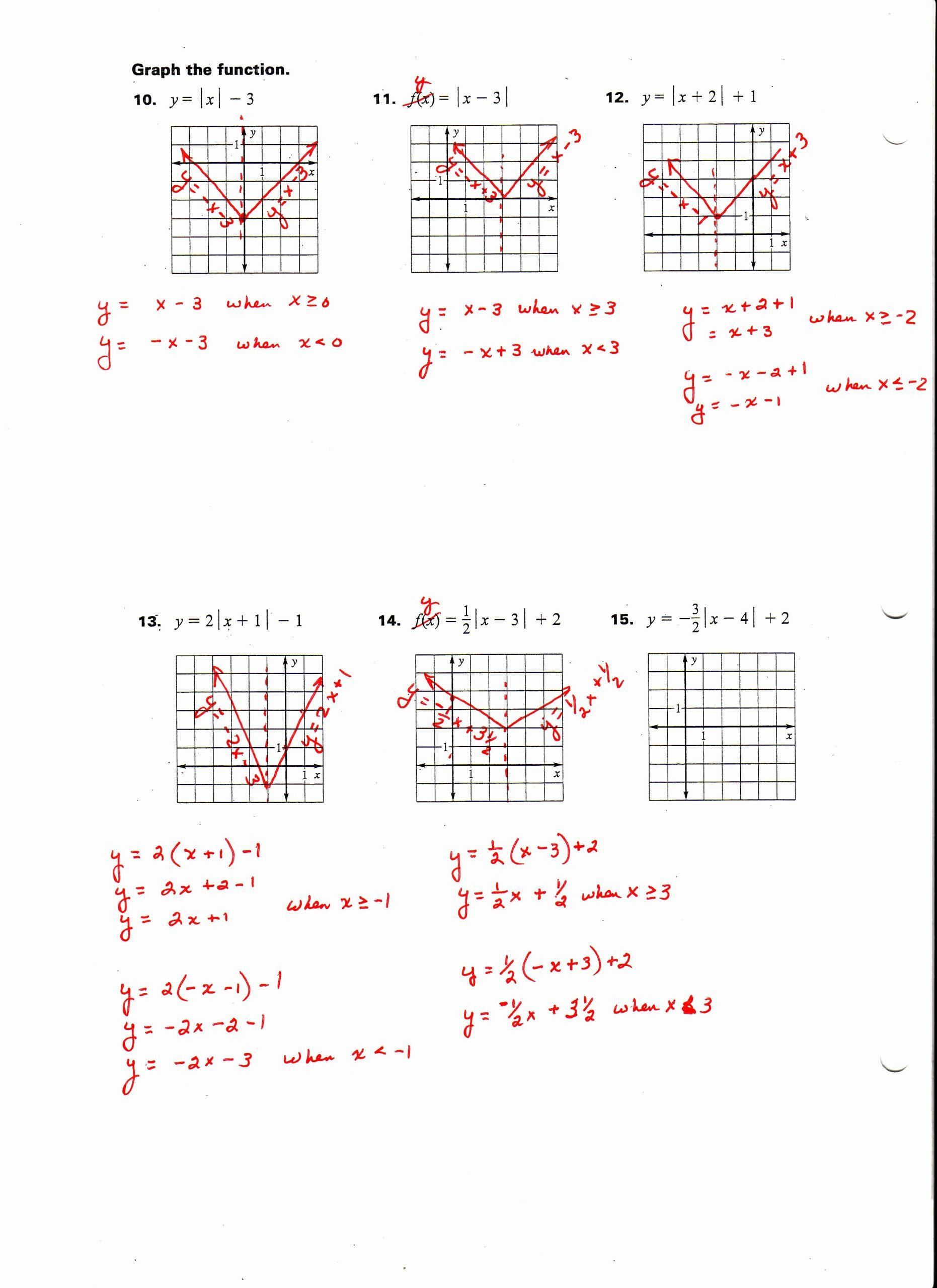 Graphing Absolute Value Functions Worksheet Printable Graphing Absolute Value Practice Worksheets