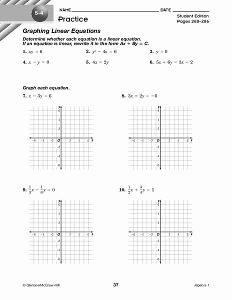 Graphing Linear Equations Practice Worksheet Best Of Graphing Linear Equations Worksheet for 9th Grade