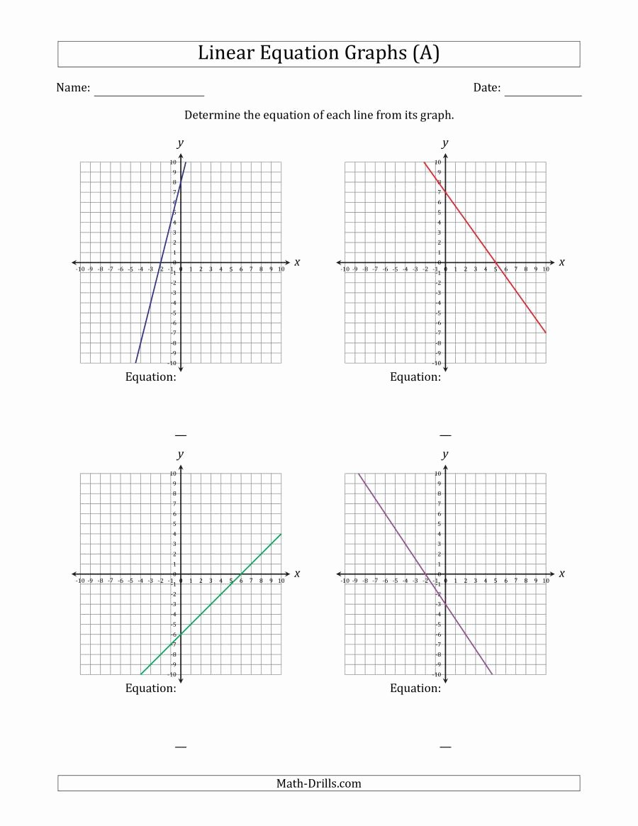 Graphing Linear Equations Practice Worksheet Ideas Determining the Equation From A Linear Equation Graph A