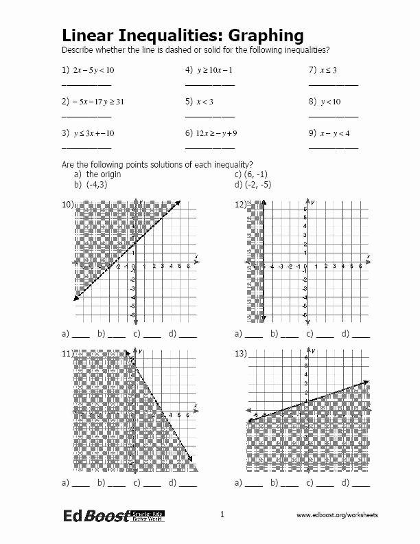 Graphing Linear Inequalities Worksheet Answers Inspirational Linear Inequalities Graphing