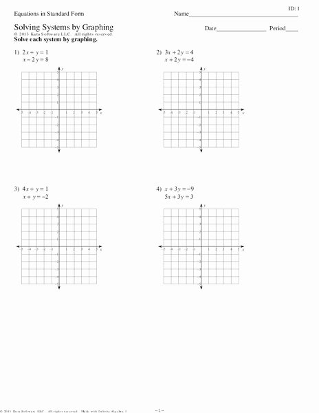 Graphing Systems Of Equations Worksheet Inspirational Equations In Standard form solving Systems by Graphing
