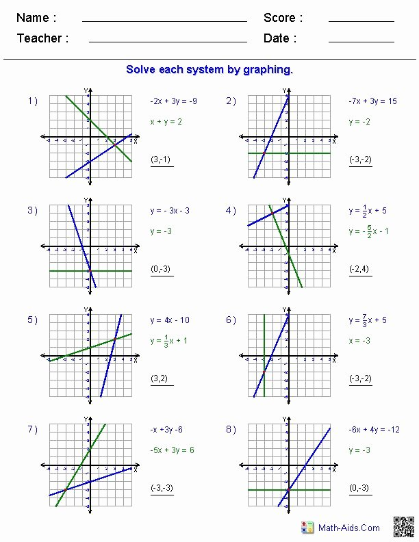 Graphing Systems Of Equations Worksheet Inspirational Two Systems Equations Worksheet In 2020