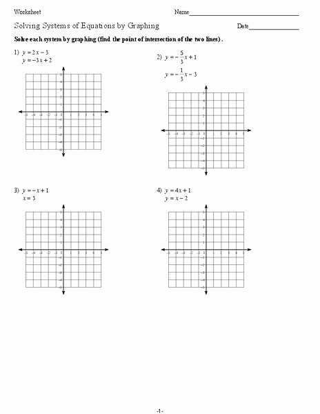 Graphing Systems Of Equations Worksheet Lovely solving Systems Of Equations by Graphing Worksheet for 9th
