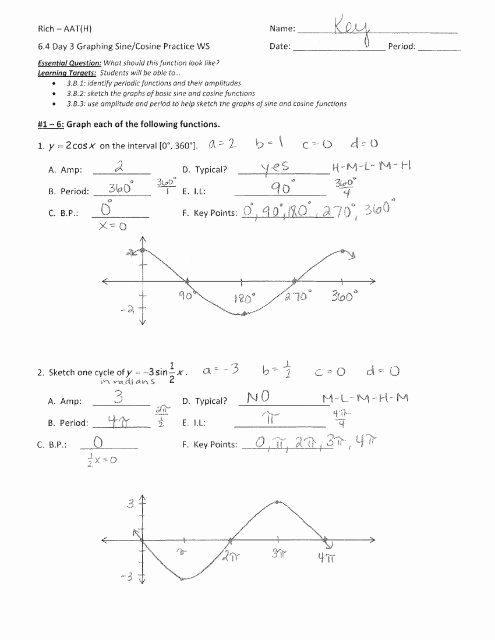 Graphing Trig Functions Practice Worksheet New 6 4 Day 3 Graphing Sine and Cosine Functions Practice Ws Key Pdf