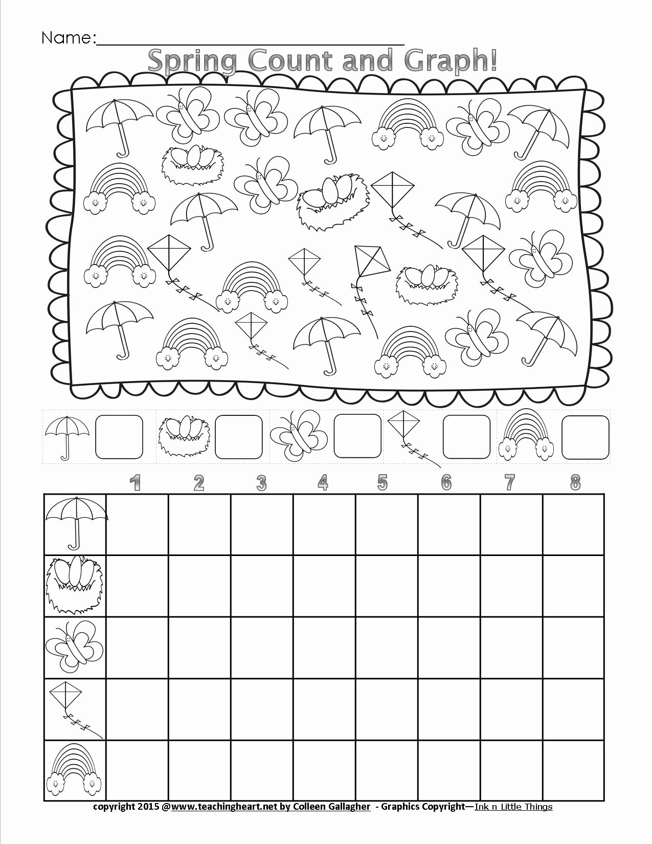 Graphing Worksheets for First Grade Kids Spring Count and Graph Free Teaching Heart Blog Graphing