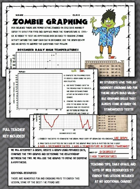 Graphing Worksheets High School Science Lovely Fun Zombie Graphing Worksheet 5th 6th 7th Middle School