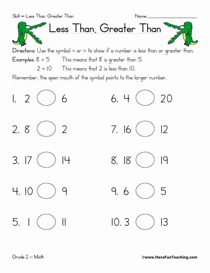 Greater Than Less Than Worksheets Printable Less Than Greater Than Worksheet