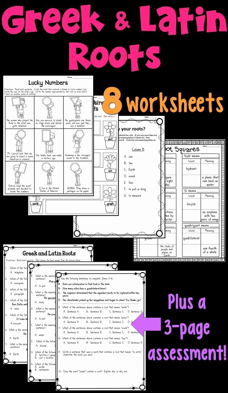 Greek and Latin Roots Worksheet Lovely Greek and Latin Roots Worksheets and assessment