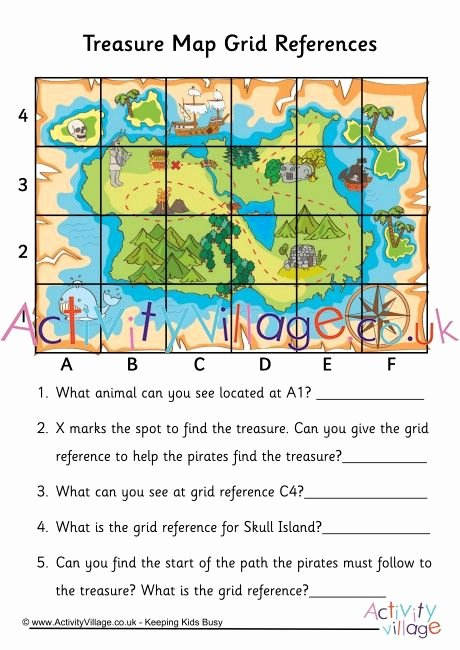 Grid Map Worksheets Grade 2 Inspirational Practice Grid References with This Fun Treasure Map