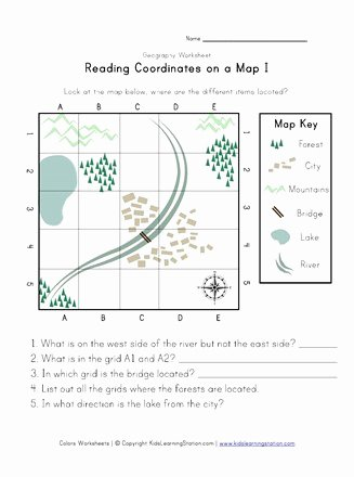 Grid Map Worksheets Grade 2 New Reading Coordinates On A Map Worksheet