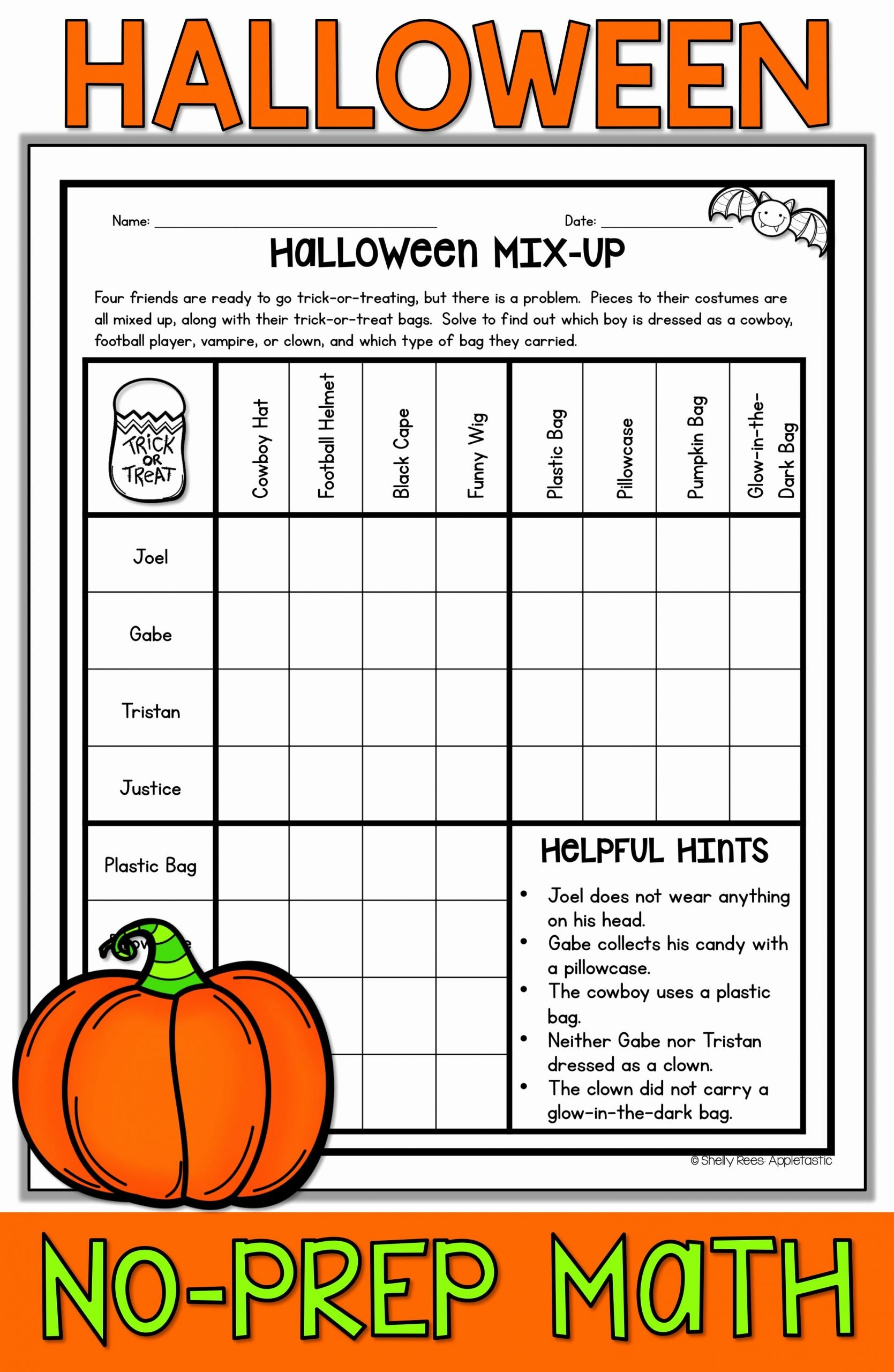 Halloween Math Worksheets Middle School Printable Halloween Math Worksheets