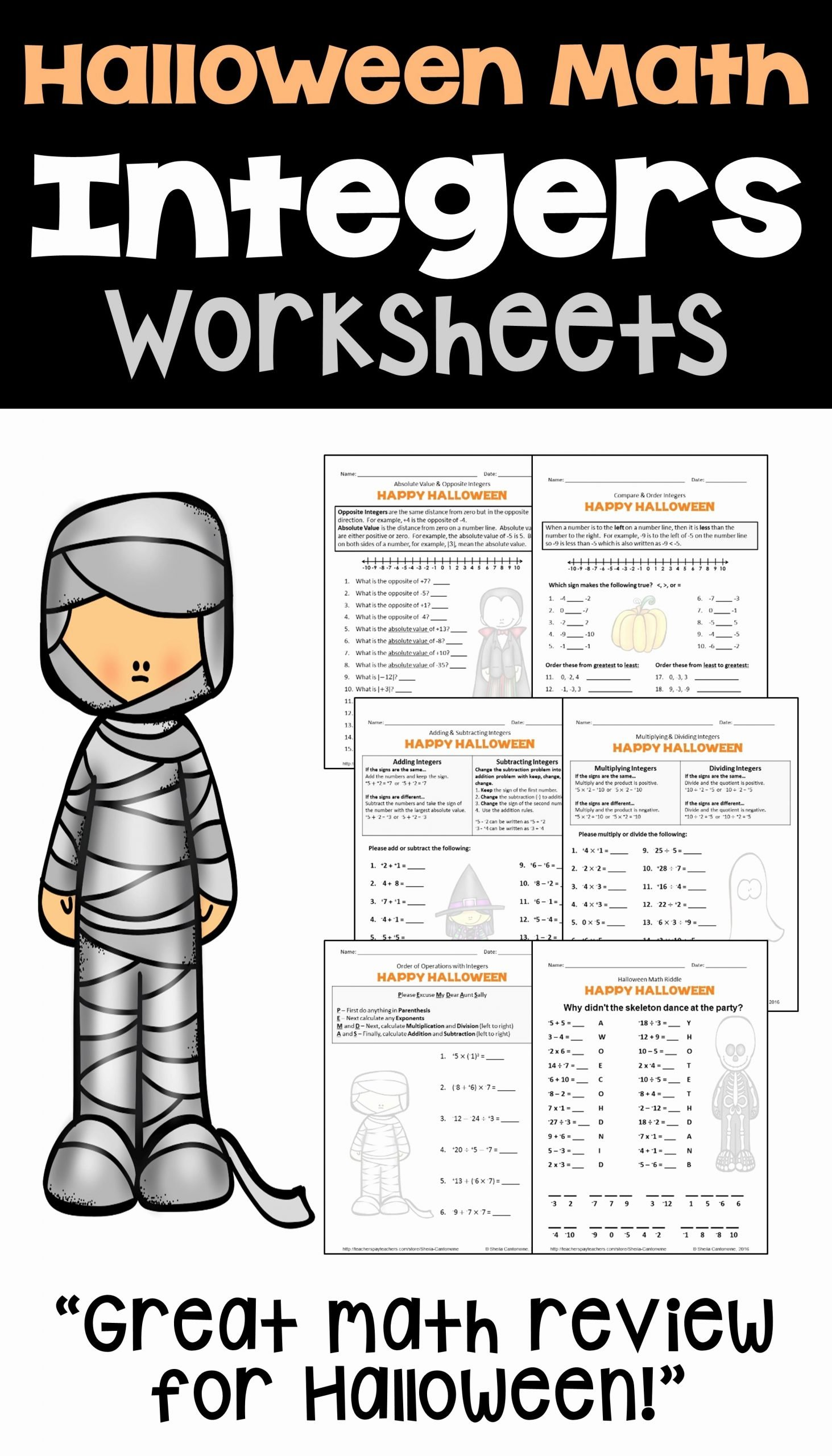 Halloween Math Worksheets Middle School top Halloween Math is Fun for Kids with these Printable Integer