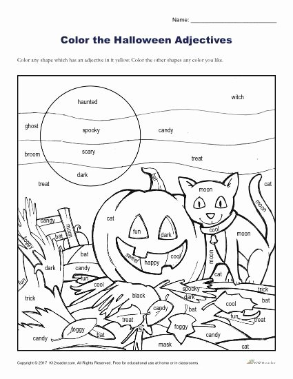 Halloween Worksheets for 2nd Grade Best Of Halloween Adjectives Printable Coloring Activity Worksheets