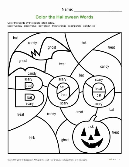 Halloween Worksheets for 2nd Grade Lovely Color the Halloween Words Printable 1st 3rd Grade Activity