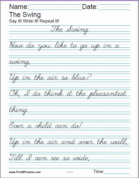Handwriting Worksheets for Older Students Kids Printable Handwriting Worksheets ⭐ Manuscript and Cursive