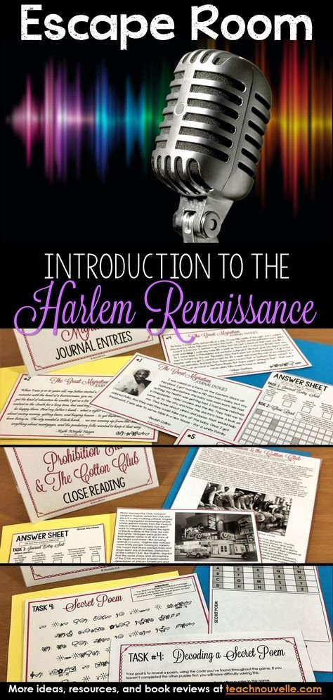 Harlem Renaissance Reading Comprehension Worksheets top Introduction to the Harlem Renaissance Escape Room