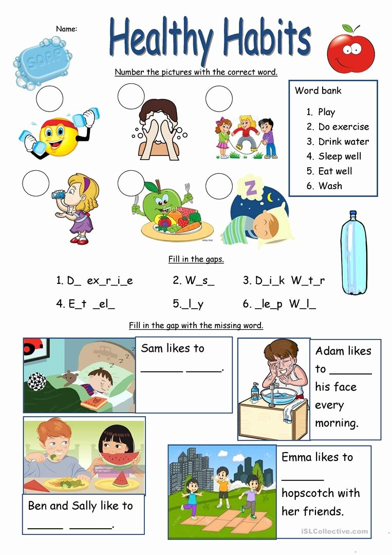 Healthy Habits for Kids Worksheets Best Of Healthy Habits Worksheet English Esl Worksheets for Distance