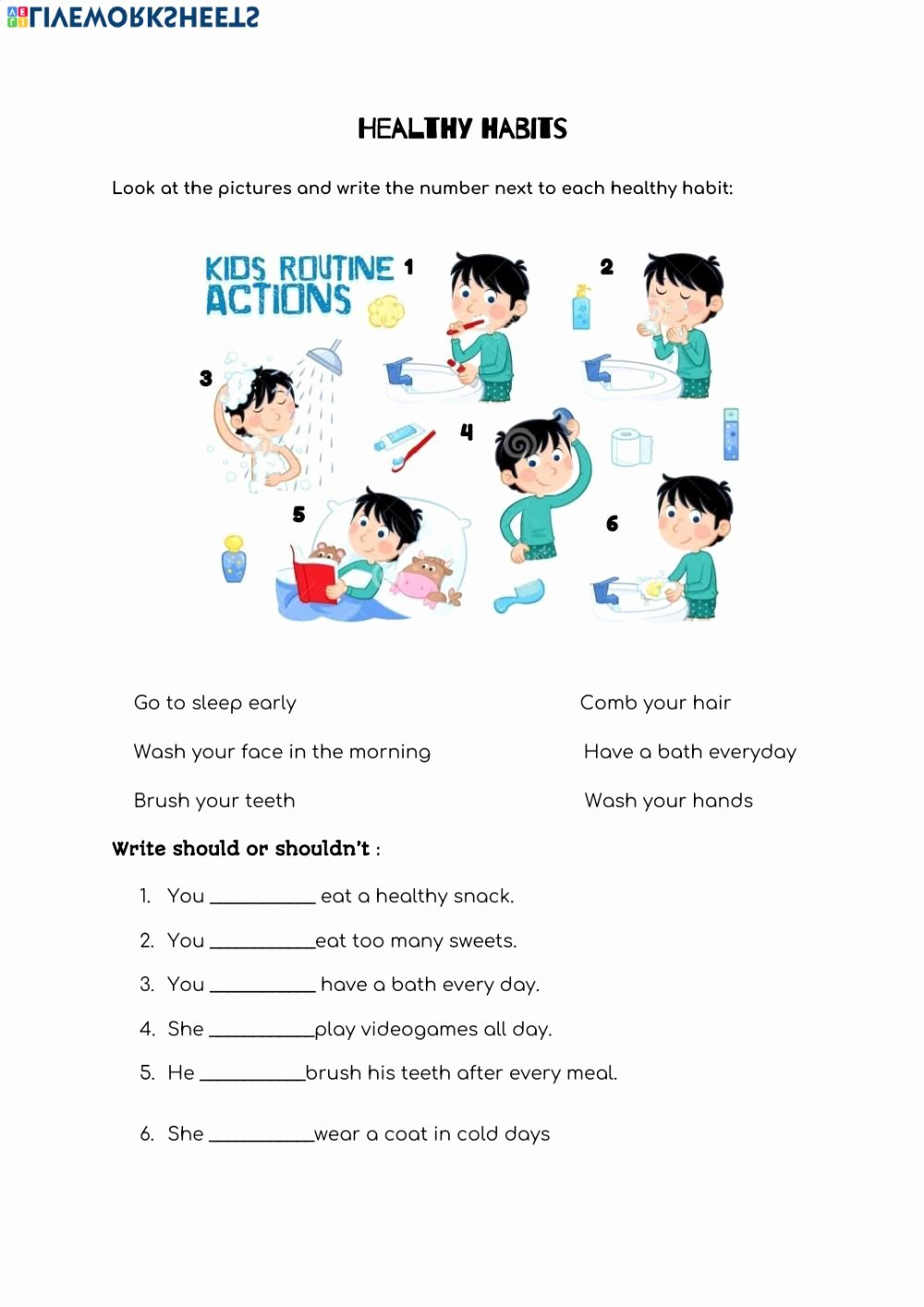 Healthy Habits for Kids Worksheets Kids Healthy Habits Interactive Worksheet