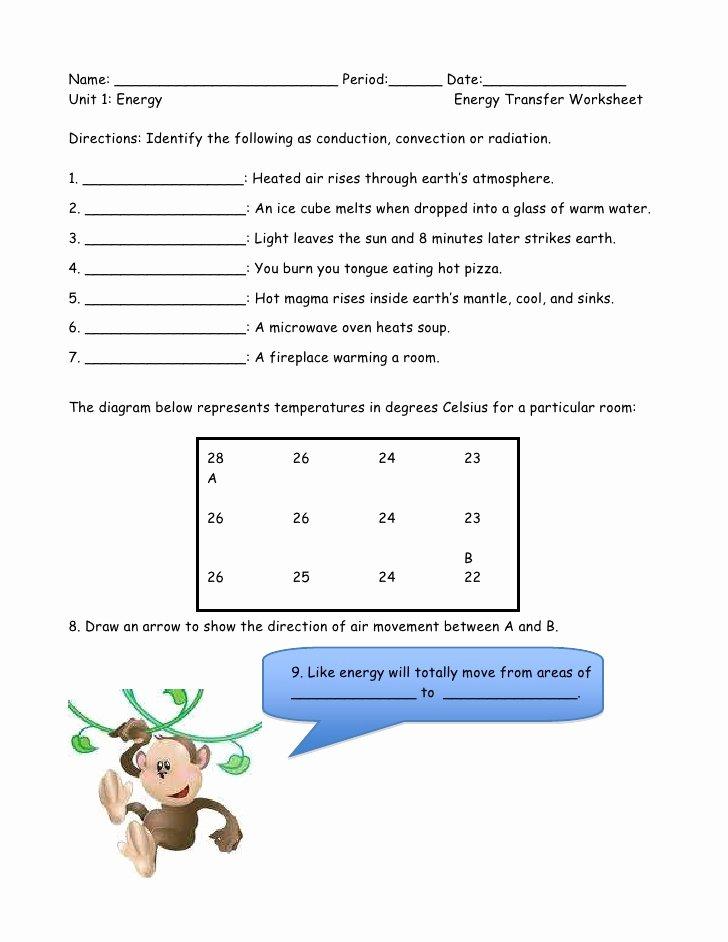 Heat Transfer Worksheet Middle School Kids Energy Transfer Worksheet