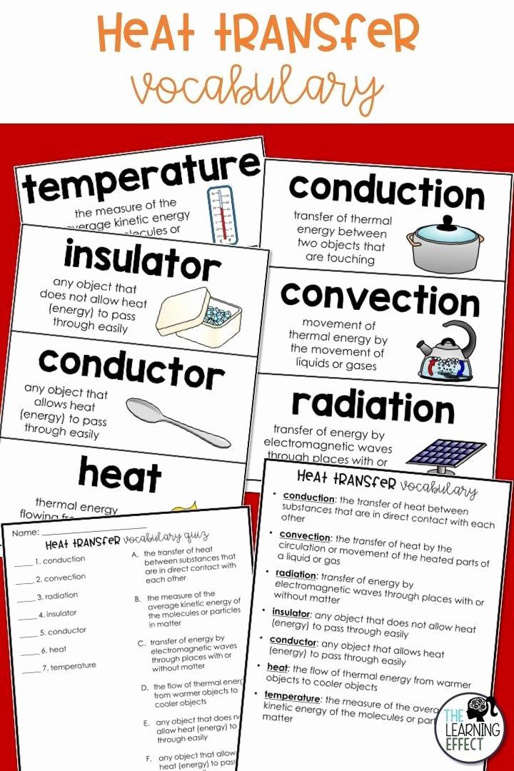 Heat Transfer Worksheet Middle School top Heat Transfer Vocabulary