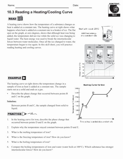 Heating and Cooling Curves Worksheet Best Of 10 3 Reading A Heating Cooling Curve Home Link