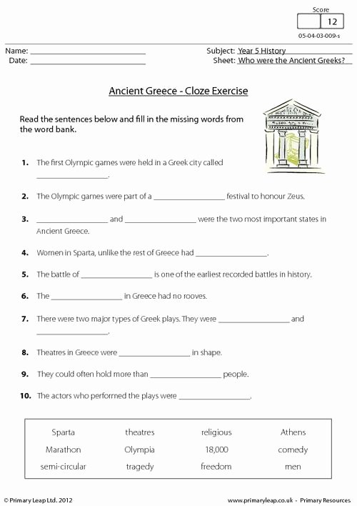 History Worksheets for 2nd Grade New History Ancient Cloze Activity Worksheet Primaryleap Greek
