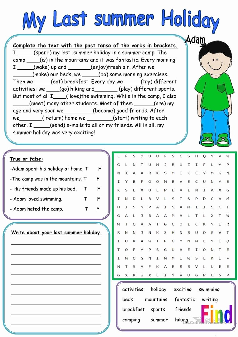 Holiday Reading Comprehension Worksheets Free Ideas My Last Summer Holiday English Esl Worksheets for Distance
