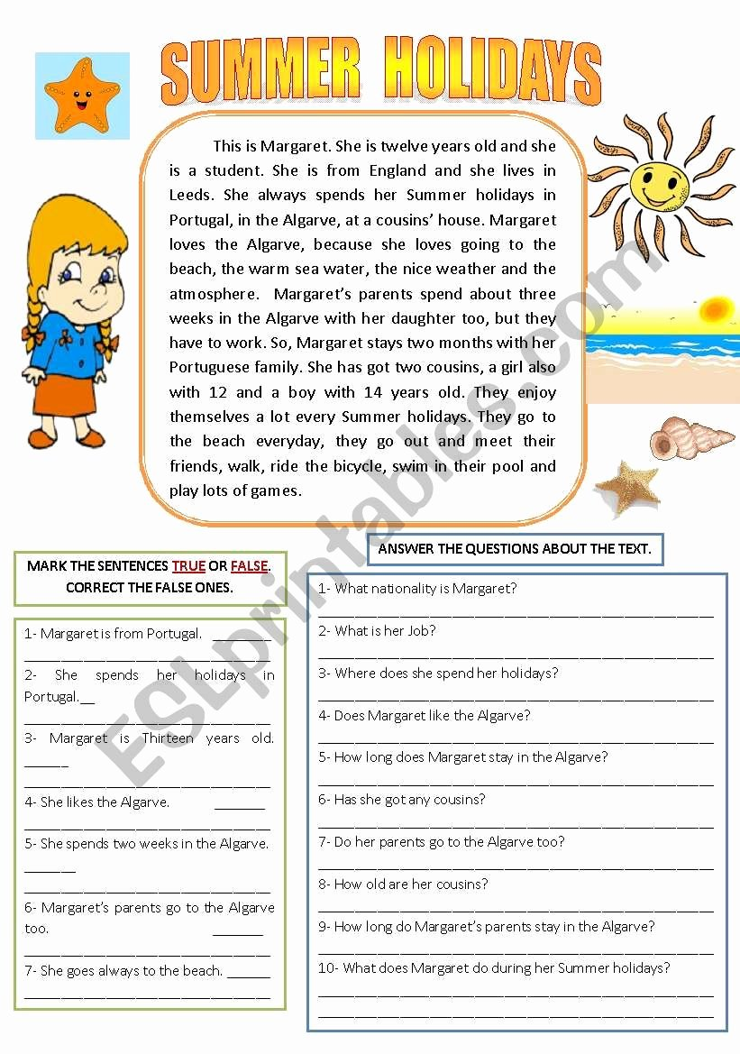 Holiday Reading Comprehension Worksheets Free Ideas Summer Holidays Reading and Prehension Esl Worksheet