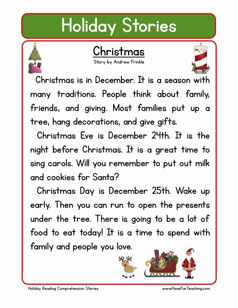 Holiday Reading Comprehension Worksheets Free Kids Reading Prehension Worksheet Christmas