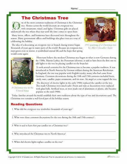 Holiday Reading Comprehension Worksheets Free Kids the Christmas Tree Printable Reading Prehension Activity