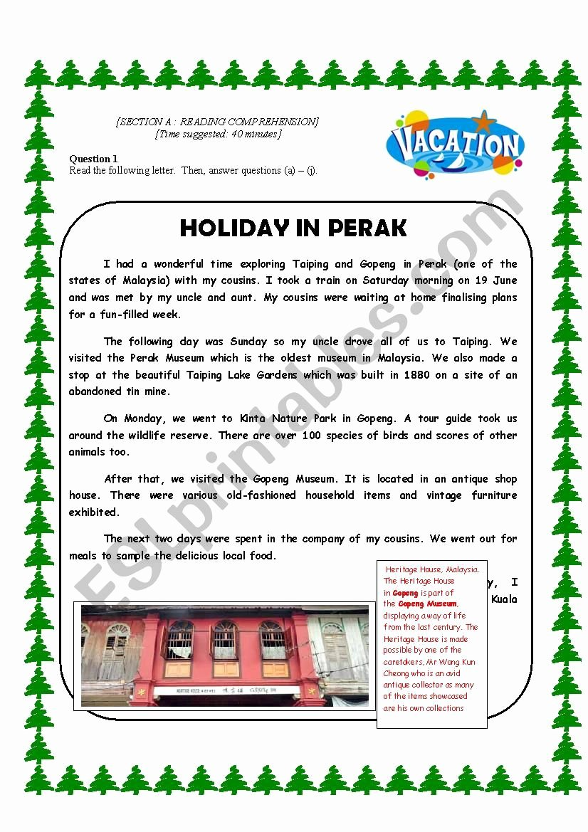 Holiday Reading Comprehension Worksheets Free Printable Reading Prehension About Going for Holidays Esl