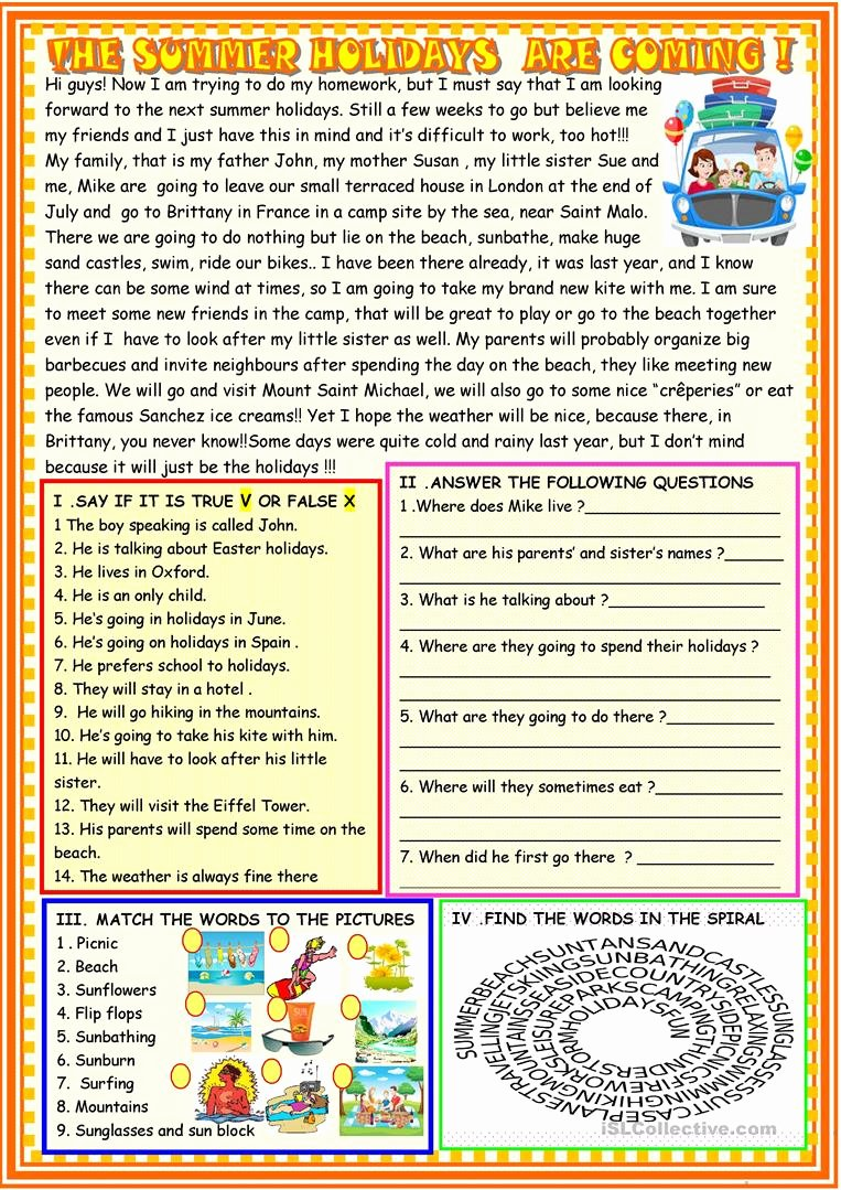 Holiday Reading Comprehension Worksheets Free top the Summer Holidays are Ing Reading Prehension