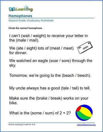2nd grade homophones