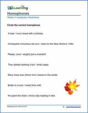 Homophones Worksheets for Grade 2 Lovely Grade 3 Vocabulary Worksheets – Printable and organized by