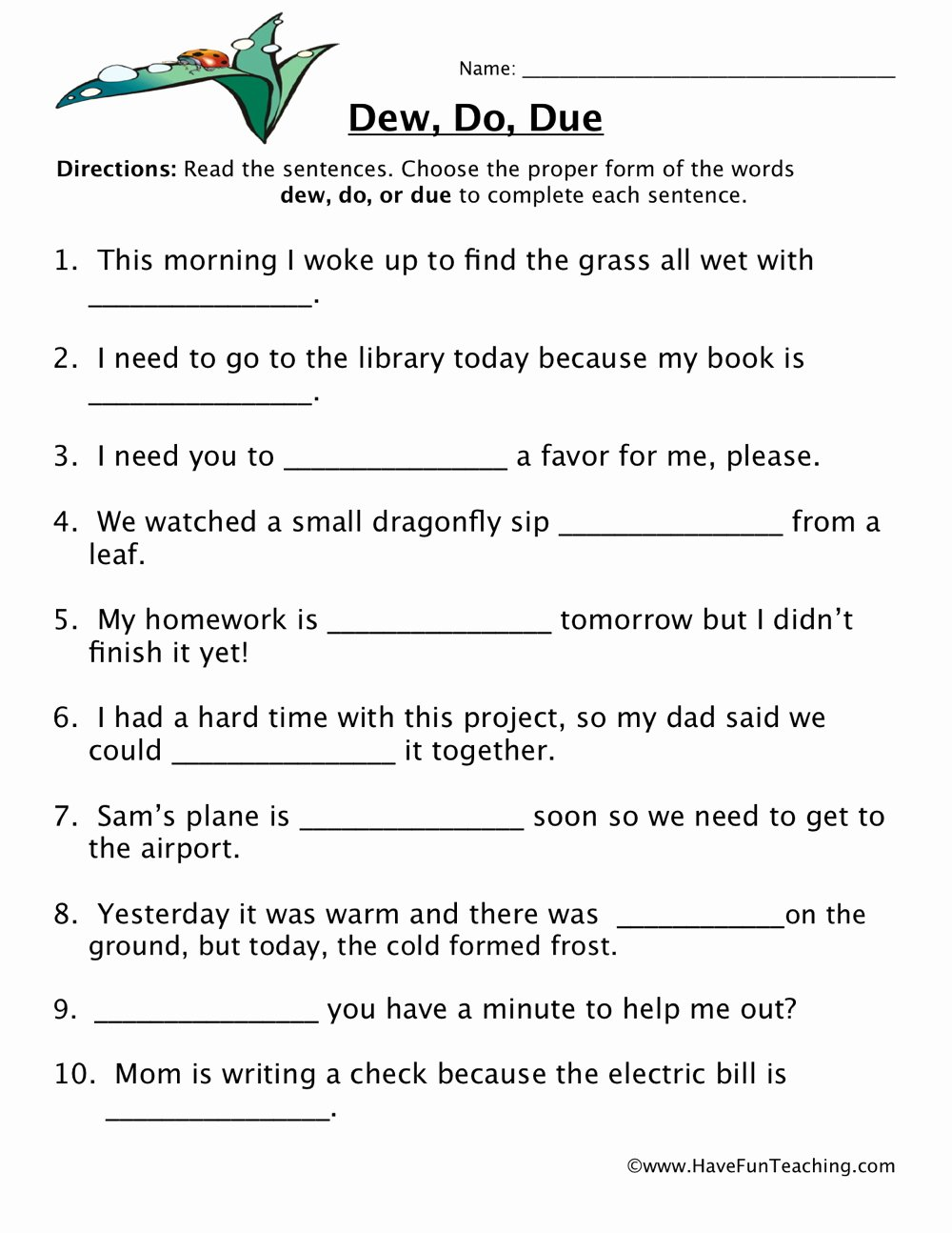 Homophones Worksheets for Grade 5 Best Of Dew Do Due Homophones Worksheet