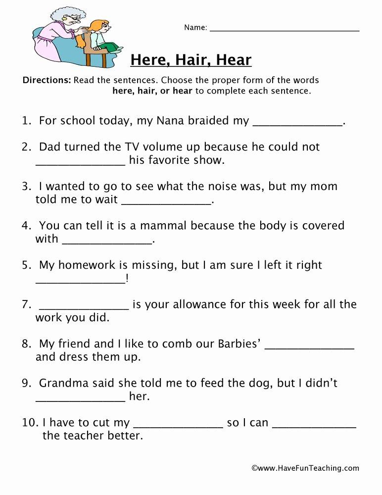 Homophones Worksheets for Grade 5 Free Here Hair Hear Homophones Worksheet