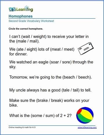 Homophones Worksheets for Grade 5 Inspirational 2nd Grade Vocabulary Worksheets – Printable and organized by