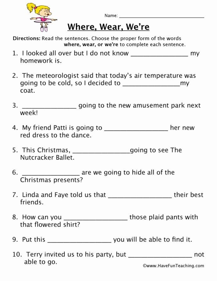 Homophones Worksheets for Grade 5 Printable Wear We Re Homophones Worksheet Have Fun Teaching Free