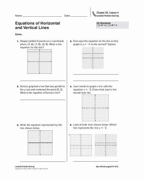 Horizontal and Vertical Lines Worksheet Best Of Equations Of Horizontal and Vertical Lines Worksheet for 5th