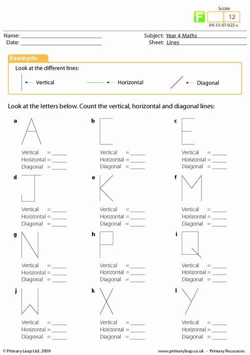 Horizontal and Vertical Lines Worksheet Printable Numeracy Lines Worksheet