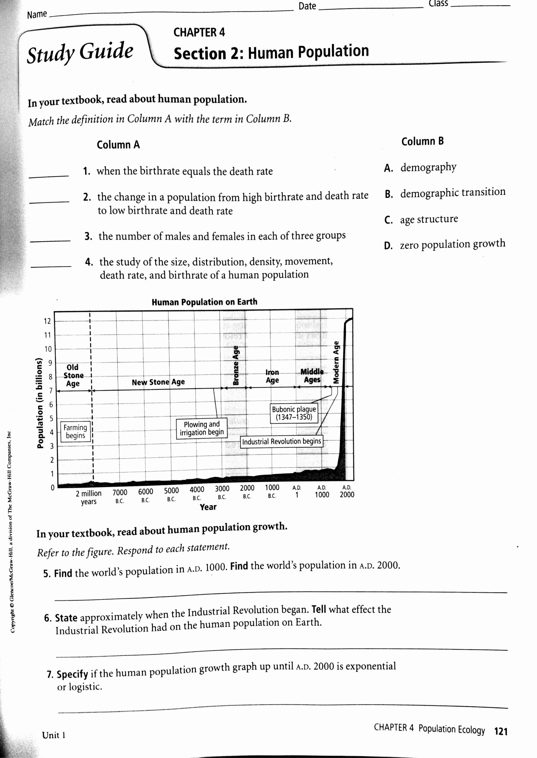 Human Population Growth Worksheet Answer Printable Population Structure Worksheet