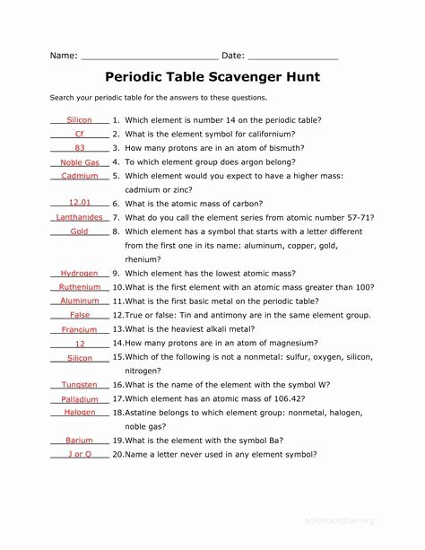 Hunting the Elements Worksheet Answers Best Of Answer Key to the Periodic Table Scavenger Hunt Worksheet