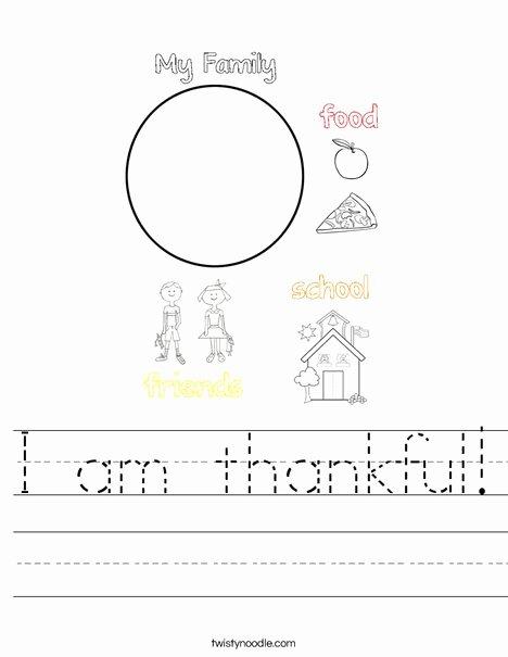 I Am Thankful for Worksheet Ideas I Am Thankful Worksheet Twisty Noodle