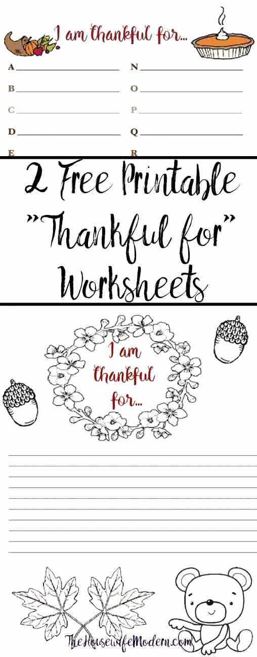 "I Am Thankful for Worksheet Lovely Free Printable ""thankful for"" Worksheet 2 Designs"