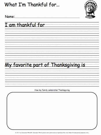 I Am Thankful for Worksheet Lovely What I M Thankful for Writing Sheet