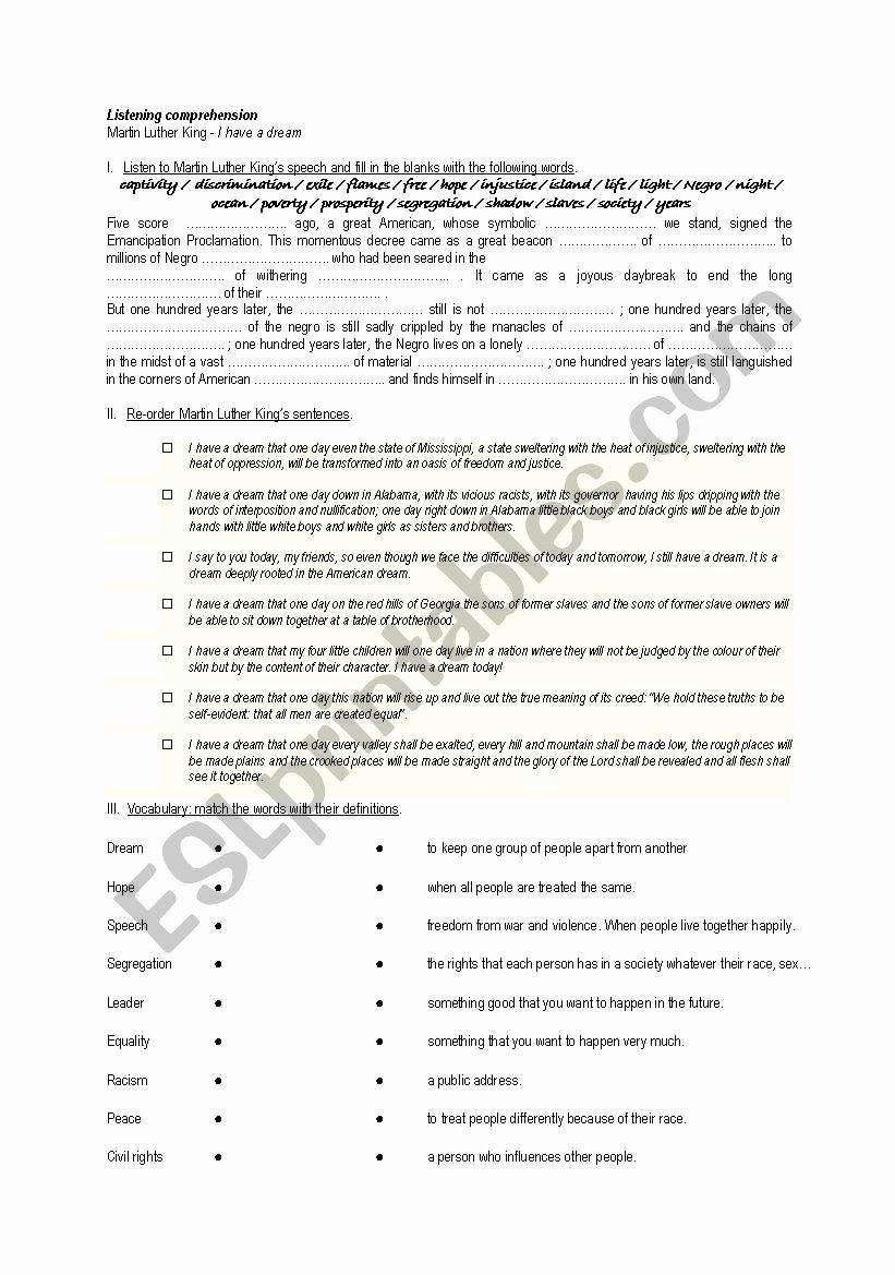 """I Have A Dream Worksheet Best Of Listening Prehension """"i Have A Dream"""" Esl Worksheet by"""
