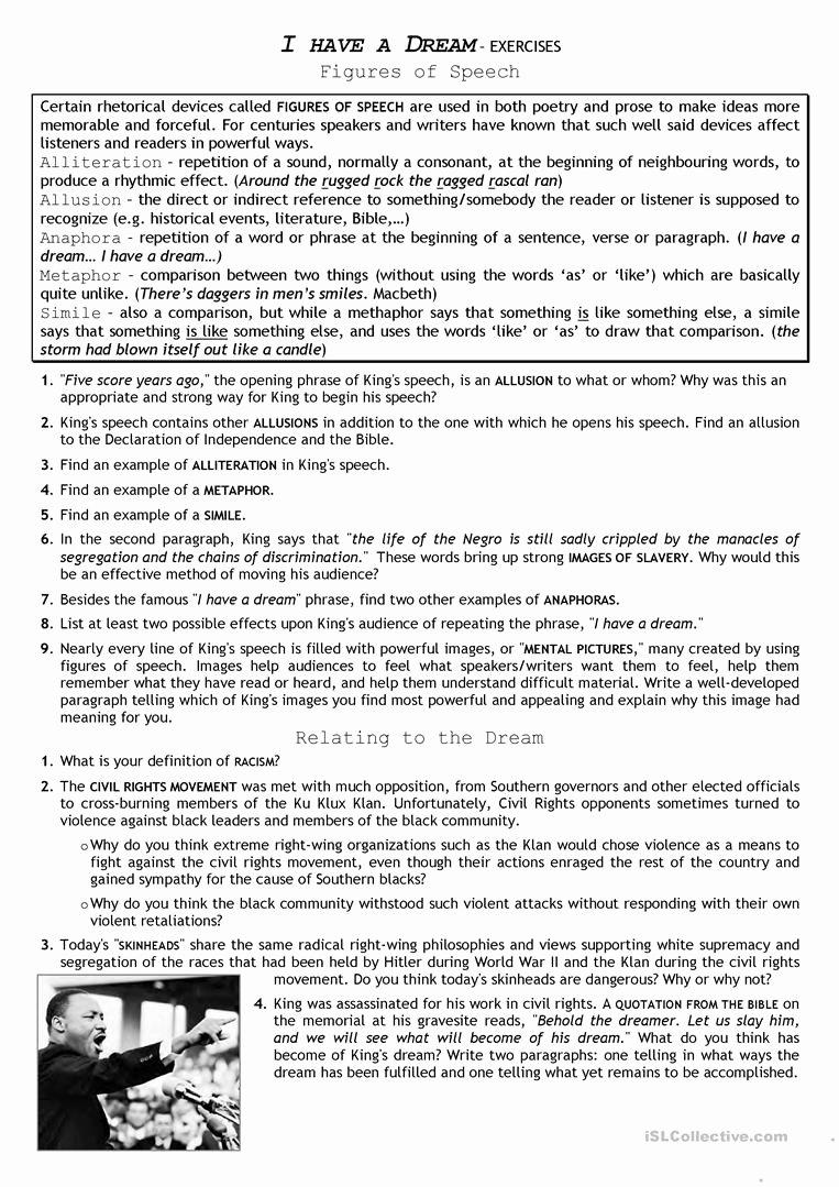 I Have A Dream Worksheet Fresh Civil Rights Movement I Have A Dream English Esl