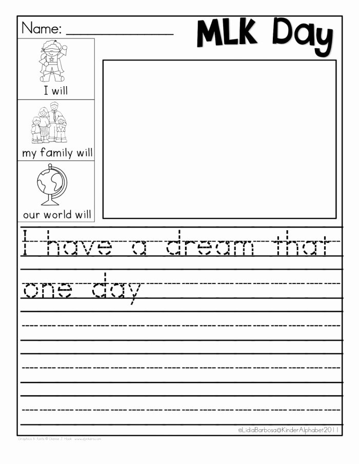 I Have A Dream Worksheet New Martin Luther King Jr and His Dream Worksheets