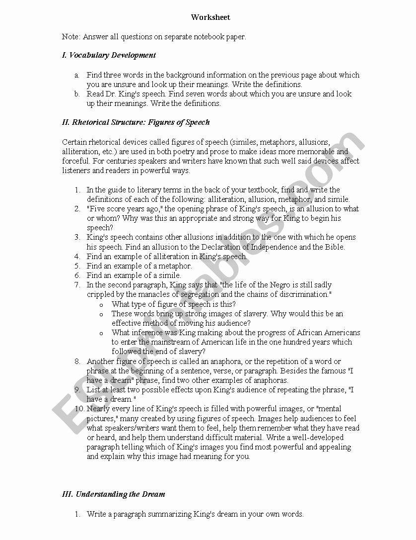 I Have A Dream Worksheet top I Have A Dream Worksheet Esl Worksheet by Nmagee