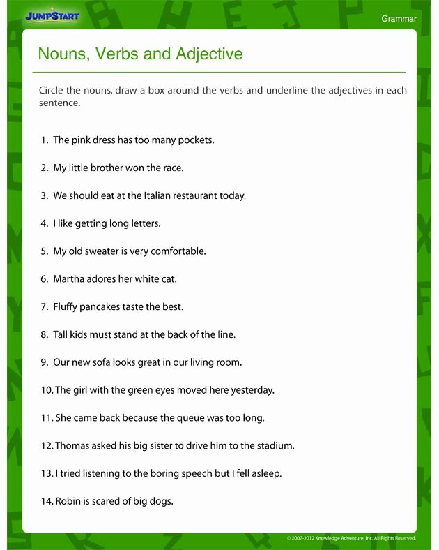 Identifying Nouns and Verbs Worksheets New Nouns Verbs and Adjectives – Free Grammar Worksheet for